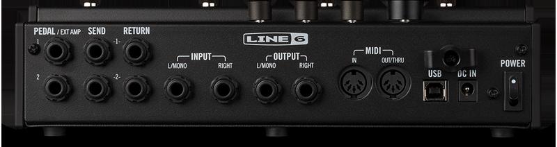 De aansluitingen van de Line 6 POD Go effectprocessor